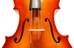 Violoncello body with bridge and F-holes Royalty Free Stock Image