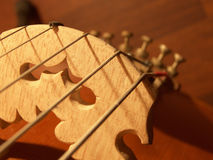 Violoncello bridge. Closeup - sepia tones Royalty Free Stock Photo
