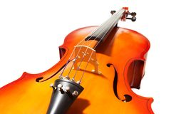 Violoncello with bridge, fingerboard and F-holes Stock Photo