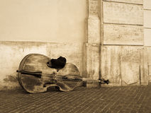 Violoncello or contrabass on the street Royalty Free Stock Photos