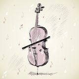 Violoncello. Hand drawn of classical stringed music instruments Royalty Free Stock Photos