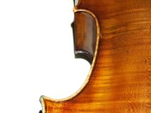 Violoncello on a white. The part of old violoncello body Stock Photography
