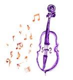 Violoncelo e notas musicais Fotografia de Stock Royalty Free
