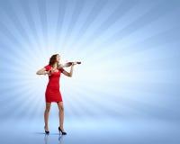 Violoniste de femme Photographie stock libre de droits