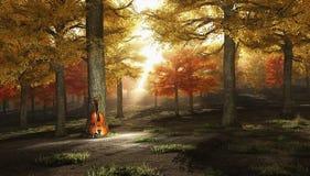 Viool in de herfstpark royalty-vrije illustratie