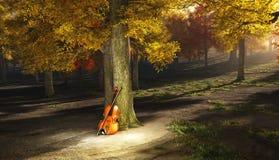Viool in de herfstpark Stock Foto