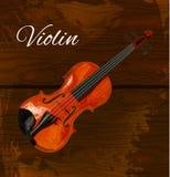 Viool gedetailleerde schets, gekleurde viool op houten achtergrond Vector illustratie Donker bruin hout vector illustratie