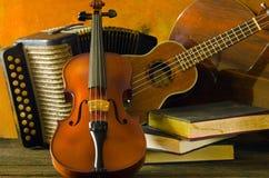 Viool, gitaar en boeken op stilleven houten achtergrond Stock Foto
