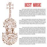 Viool met muzieknoten voor het ontwerp van het kunstenmalplaatje Stock Afbeeldingen