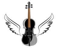 Viool met vleugels stock illustratie