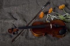 Viool, strijkstok en bowtie, canvasachtergrond Royalty-vrije Stock Afbeelding