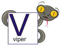 Vipère tenant un signe avec la lettre V Images stock