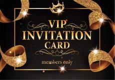 VIP与金框架和闪耀的丝带的邀请卡片 免版税图库摄影