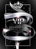 VIP与银闪耀的卷曲丝带的邀请卡片 免版税库存图片