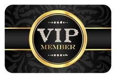 VIP在黑卡片的成员徽章与花卉样式 库存照片