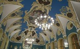 VIP大厅或室更高的舒适Kazansky火车站vokzal的Kazansky--是九个铁路终端之一在莫斯科,俄罗斯 免版税库存照片