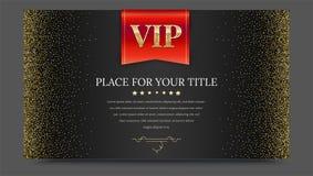 VIP或豪华红旗在黑梯度背景与金黄,发光,闪烁尘土金属样式 水平的照片 皇族释放例证