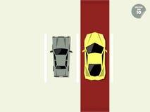 VIP概念,在超级汽车和一般汽车之间的区别,当停车处的公园 库存照片