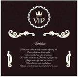 VIP的典雅的邀请,与在维多利亚女王时代的样式的一件圆装饰品 免版税库存照片