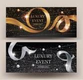 VIP邀请与闪耀的串、小珠和卷曲丝带的金和银横幅 免版税库存图片