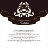 VIP邀请和婚礼问候的典雅的明信片 在维多利亚女王时代的样式,与一件透雕细工装饰品 browne 向量例证