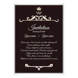 VIP邀请的典雅的明信片 附有信封 它在与叶子装饰品的维多利亚女王时代的样式被执行 browne 向量例证