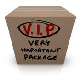 VIP非常重要包裹纸板箱发货 库存照片