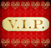 Vip. Golden card on grunge red background Stock Photos