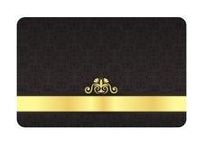 Μαύρη VIP κάρτα με το εκλεκτής ποιότητας πρότυπο και το χρυσό εργαστήριο Στοκ φωτογραφία με δικαίωμα ελεύθερης χρήσης