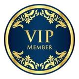 与金黄葡萄酒样式的蓝色VIP成员徽章 免版税库存图片