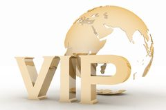 VIP abbreviation with a globe Stock Photo