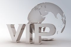 VIP abbreviation with a globe Stock Image