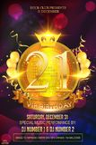 21 vip anniversary template design. Golden color with golden banner, balloons, ribbons crown, bokeh and sparkles and ring on. 21 anniversary template design vector illustration
