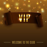 VIP background with realistic brown curved ribbon Stock Image