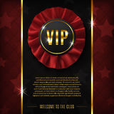 VIP background with realistic, fabric award ribbon Stock Image