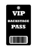 VIP Backstage pass. Black VIP backstage pass with bar code, isolated on white background Royalty Free Stock Images
