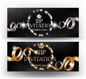VIP banners with defocused frame of lights and curly ribbons. Stock Photos