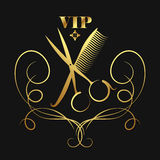 Vip beauty salon and hairdresser, golden silhouette Stock Photos