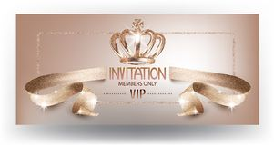 VIP beige beautiful invitation card with curly textured ribbon and crown. Vector illustration Royalty Free Stock Image