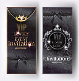 VIP black elegant invitation cards with floral design background, vintage frames, crowns and silk ribbons. Vector illustration stock illustration