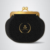 VIP Black leather purse with gold clasp. Royalty Free Stock Image