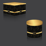 VIP box with gold lid and vintage background, large two boxes of square and round. On a gray background. With reflection Stock Images