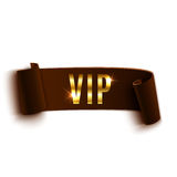 VIP brown curved ribbon isolated on white Royalty Free Stock Photography