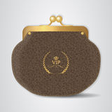 VIP Brown leather purse with gold clasp. Royalty Free Stock Image