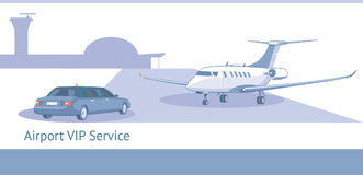 VIP or business class passengers service. Service for high-ranking person in airport.The template for banner, brochures, business cards.Vector illustration Royalty Free Stock Photography