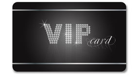 VIP card. Black and silver VIP car with diamonds isolated on the white background Stock Images