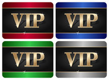 VIP Card Collection. In four different colors, isolated on white background. Eps file available Stock Image