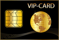 VIP Card with a golden Globe Stock Photography