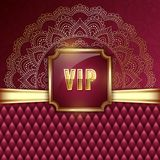 VIP card template. Elegant VIP invitation card with golden ribbons and ethnic mandala ornament. Vector Illustration Stock Photography