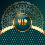 VIP card template. Elegant VIP invitation card with golden ribbons and ethnic mandala ornament. Vector Illustration Royalty Free Stock Photos